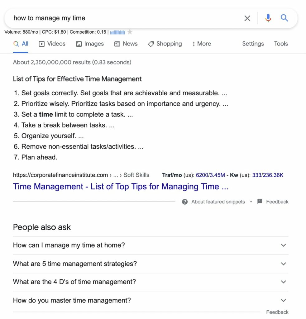 Informational intent example - how to manage time
