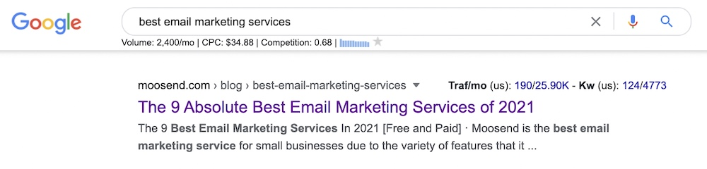 best email marketing services search intent