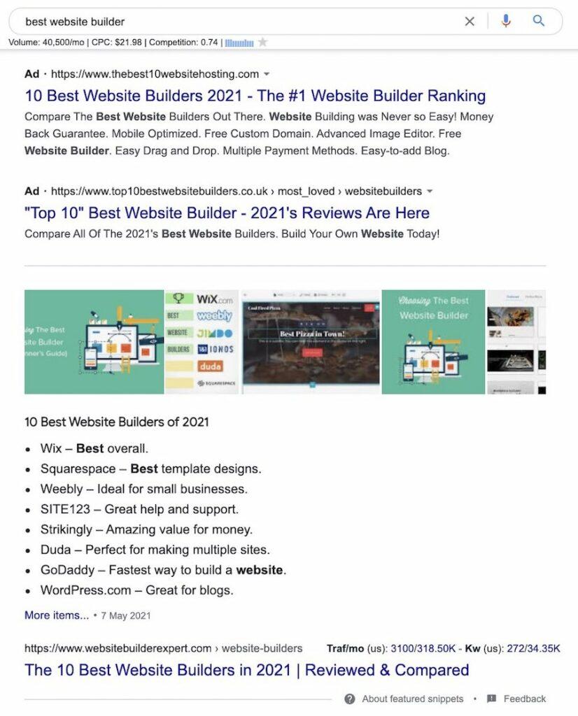 commercial intent search - best website builder