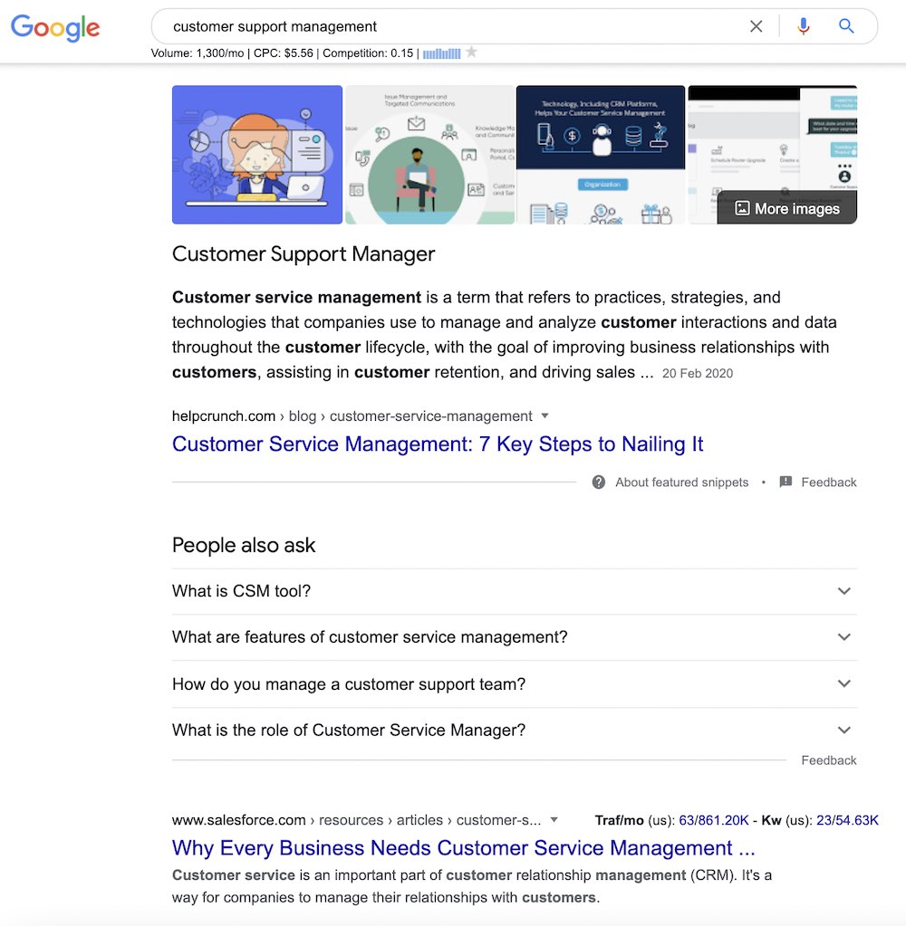 customer support management search intent
