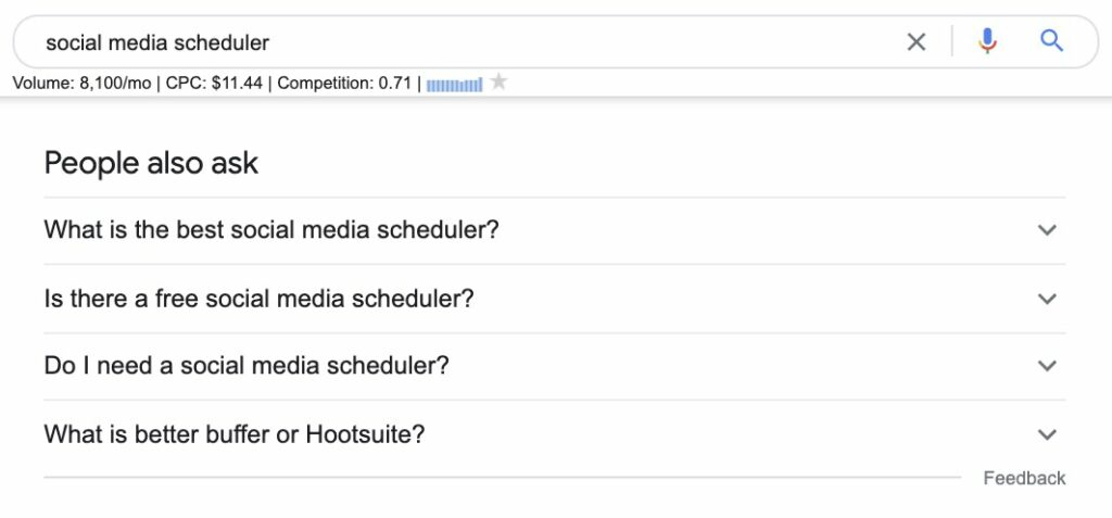google search - people also ask section - social media scheduler