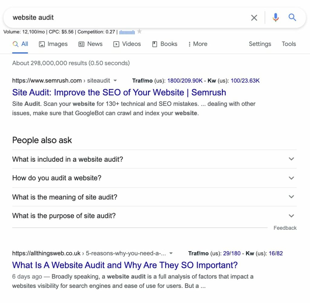 website audit - more than one search intent