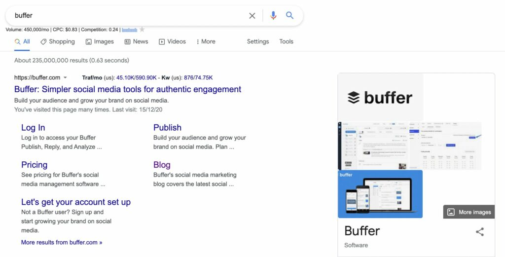 navigational intent search example - buffer