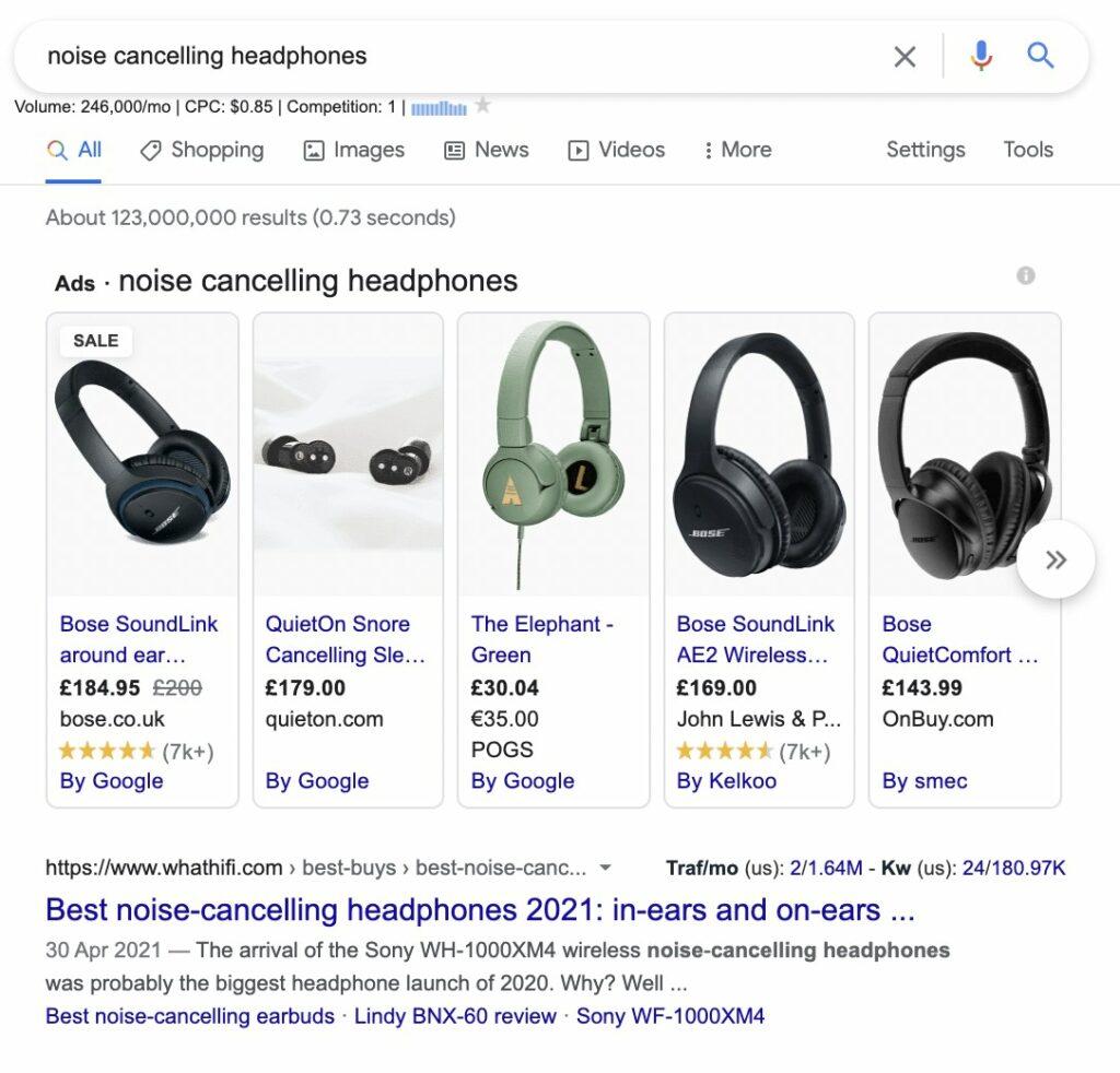 transactional intent query - noise cancelling headphones
